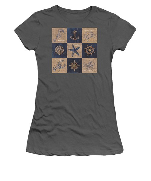 Nautical Burlap Women's T-Shirt (Athletic Fit)