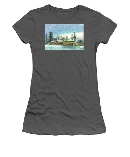 Navy Pier Winter Snow Women's T-Shirt (Junior Cut) by Doug Kreuger