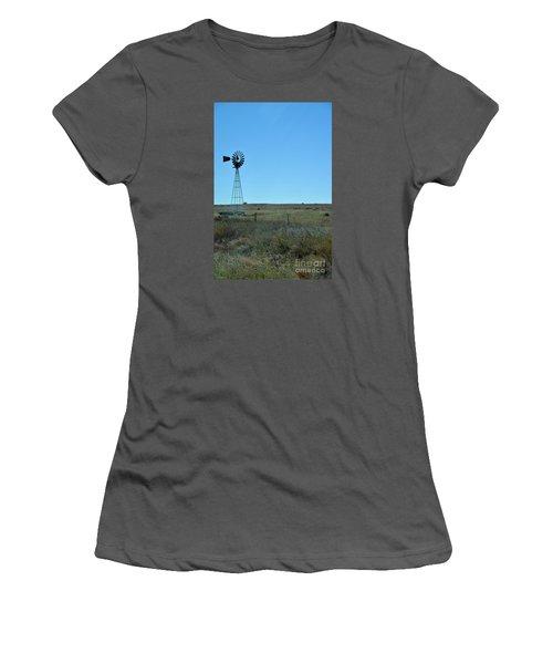 Women's T-Shirt (Junior Cut) featuring the photograph Nebraska Windmill by Mark McReynolds