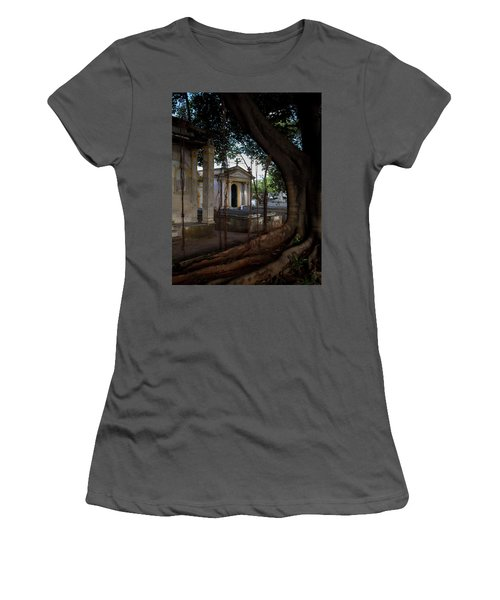 Women's T-Shirt (Athletic Fit) featuring the photograph Necropolis Cristobal Colon Havana Cuba Cemetery by Charles Harden