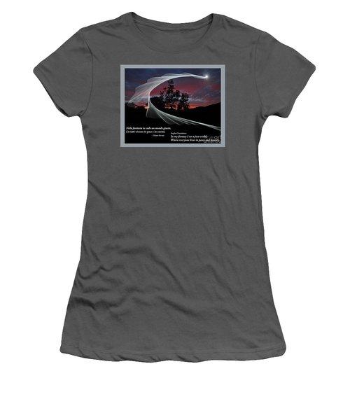 Nella Fantasia Io Vedo Un Mondo Giusto Women's T-Shirt (Junior Cut) by Jim Fitzpatrick