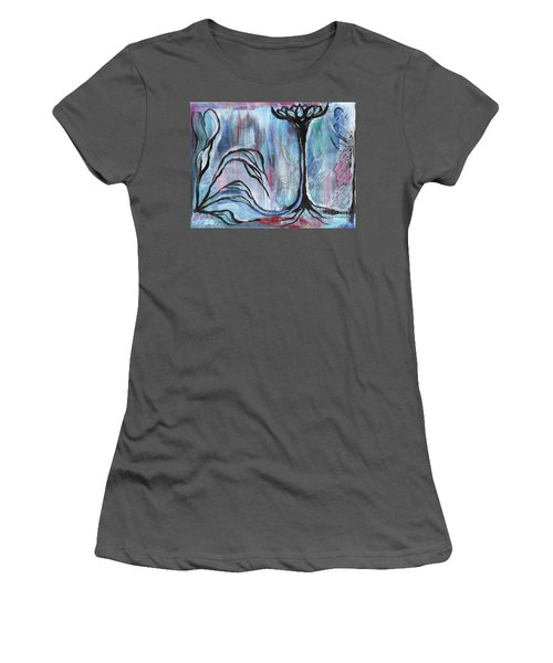 Women's T-Shirt (Junior Cut) featuring the painting New Beginnings by Angela Armano