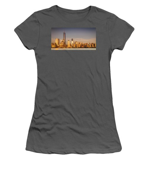 New World Trade Memorial Center And New York City Skyline Panorama Women's T-Shirt (Athletic Fit)