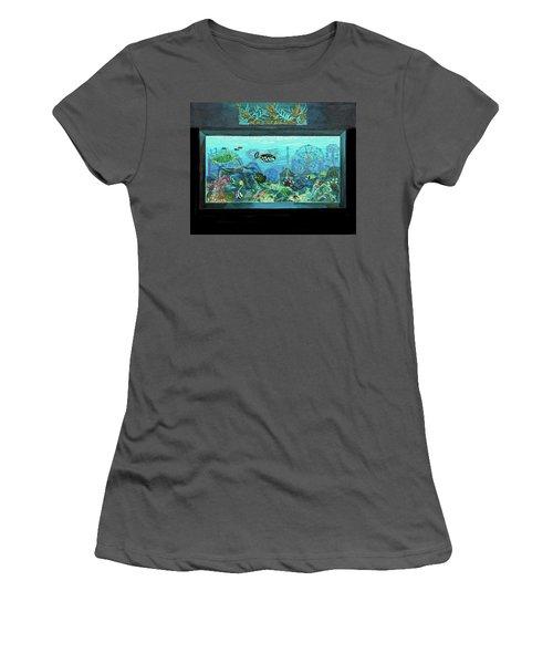 New York Aquarium Women's T-Shirt (Junior Cut) by Bonnie Siracusa