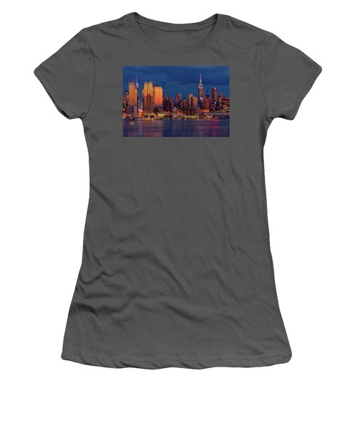 Women's T-Shirt (Athletic Fit) featuring the photograph New York City Skyline Pride by Susan Candelario