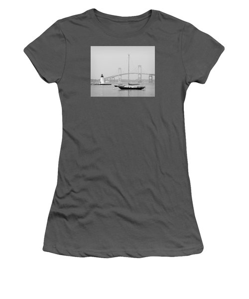 Newport, Rhode Island Serene Harbor Scene Women's T-Shirt (Athletic Fit)