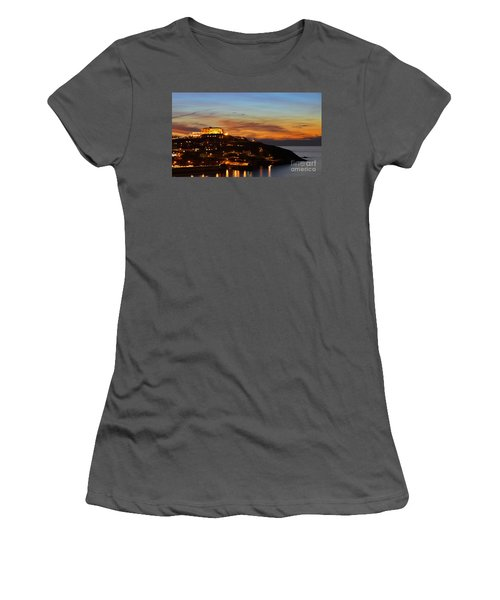Newquay Harbor At Night Women's T-Shirt (Athletic Fit)
