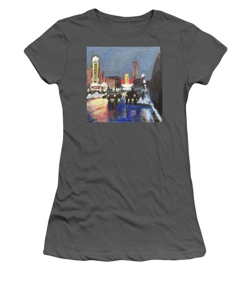 Night Around Michigan Theater Women's T-Shirt (Athletic Fit)