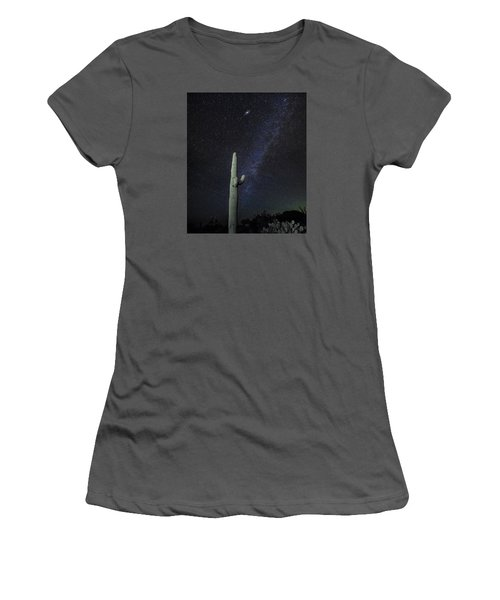 Women's T-Shirt (Junior Cut) featuring the photograph Night Desert Skies by Charles Warren