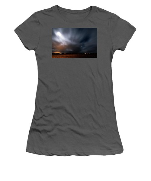 Women's T-Shirt (Athletic Fit) featuring the photograph Night In Iceland by Dubi Roman