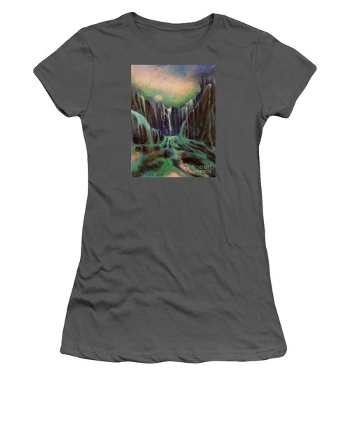 Women's T-Shirt (Junior Cut) featuring the painting Night Of The Fall  by Alison Caltrider