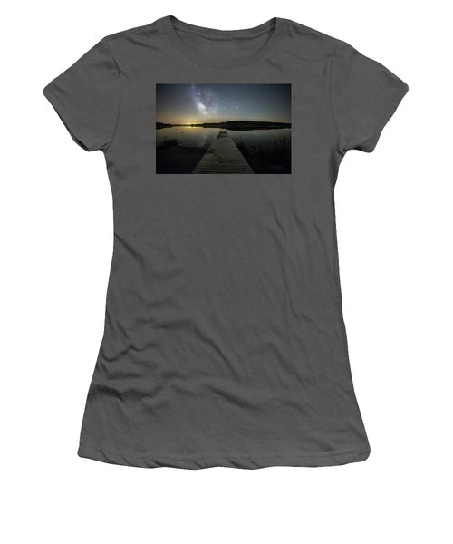 Women's T-Shirt (Junior Cut) featuring the photograph Night On The Dock by Aaron J Groen