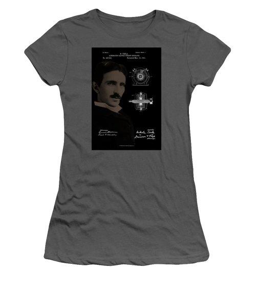 Nikola Tesla Patent Drawing Women's T-Shirt (Athletic Fit)