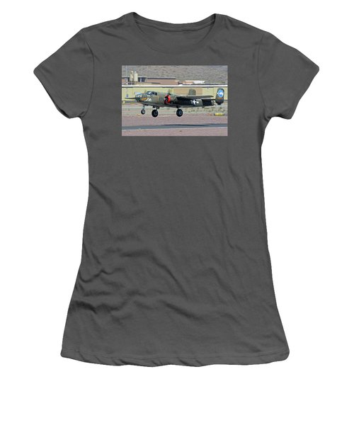 Women's T-Shirt (Junior Cut) featuring the photograph North American B-25j Mitchell Nl3476g Tondelayo Deer Valley Arizona April 13 2016 by Brian Lockett