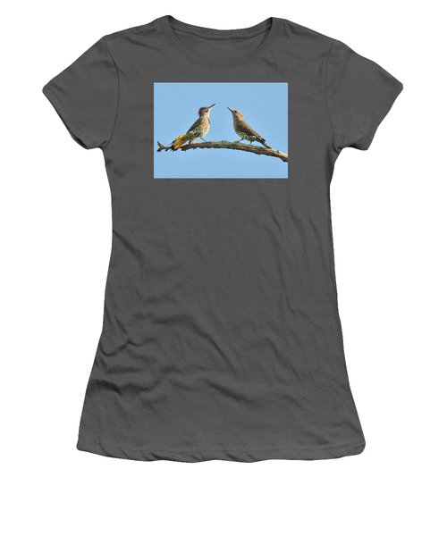 Northern Flickers Communicate Women's T-Shirt (Junior Cut) by Alan Lenk