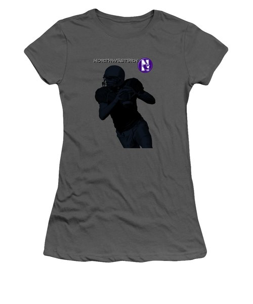 Women's T-Shirt (Junior Cut) featuring the digital art Northwestern Football by David Dehner