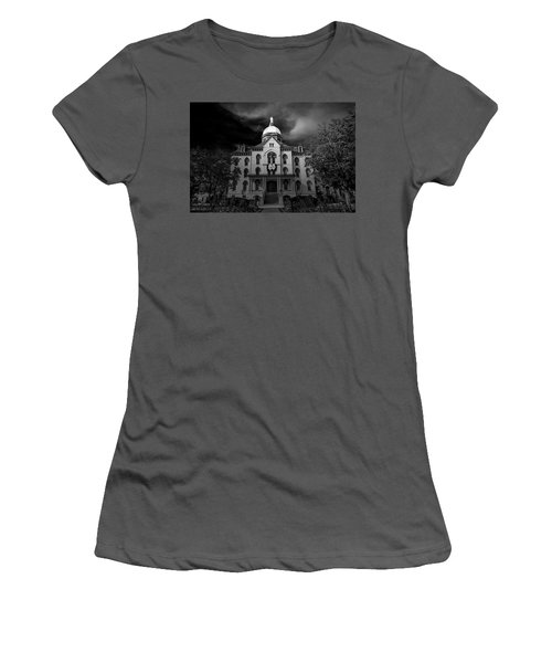 Women's T-Shirt (Athletic Fit) featuring the photograph Notre Dame University Black White 3a by David Haskett