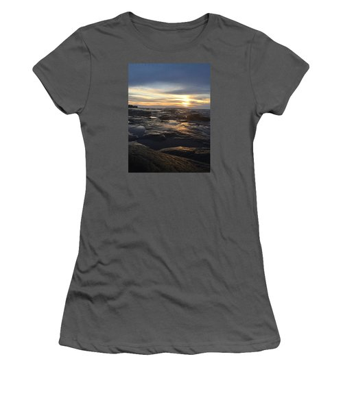 Women's T-Shirt (Junior Cut) featuring the photograph November Sunset On Lake Superior by Paula Brown