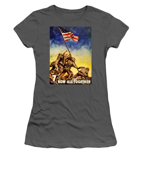 Now All Together Vintage War Poster Restored Women's T-Shirt (Athletic Fit)