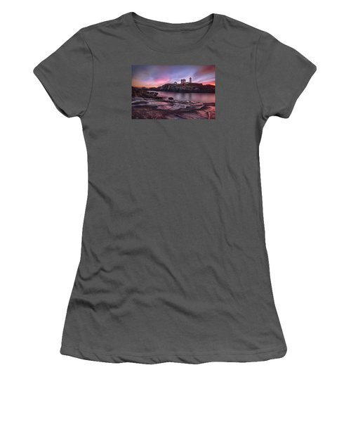 Nubble Lighthouse At Sunrise York Me Women's T-Shirt (Junior Cut) by Betty Denise