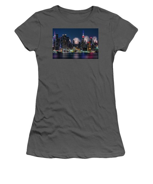 Women's T-Shirt (Athletic Fit) featuring the photograph Nyc 4th Of July Fireworks Celebration by Susan Candelario