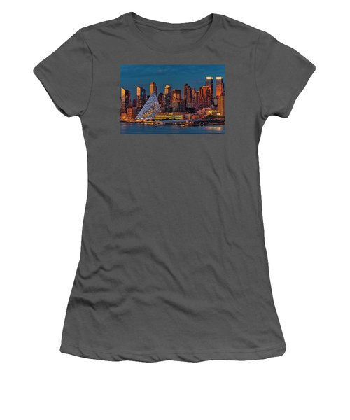 Women's T-Shirt (Athletic Fit) featuring the photograph Nyc Golden Empire by Susan Candelario