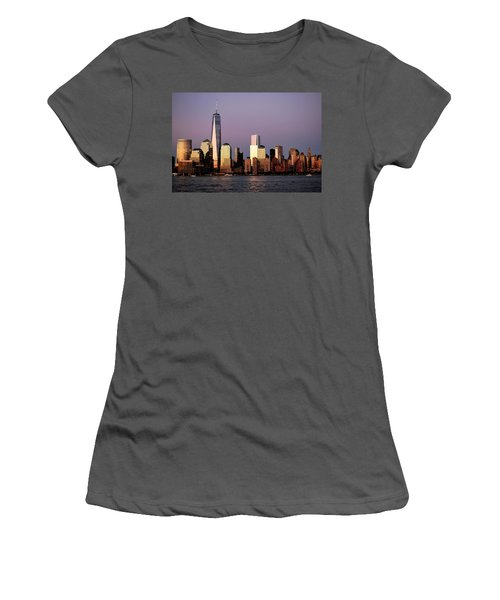 Nyc Skyline At Dusk Women's T-Shirt (Junior Cut) by Matt Harang