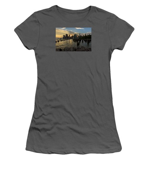 Women's T-Shirt (Junior Cut) featuring the photograph Nyc Sunset by Anthony Fields