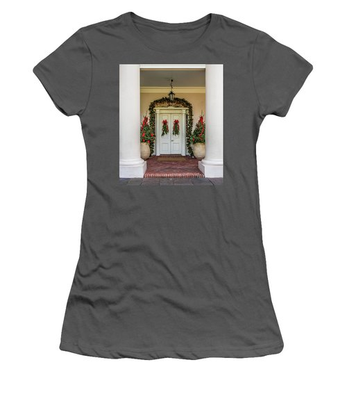Women's T-Shirt (Junior Cut) featuring the photograph Oak Alley Plantation Doors by Paul Freidlund