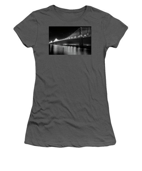 Women's T-Shirt (Junior Cut) featuring the photograph Oakland Bay Bridge At Night by Darcy Michaelchuk