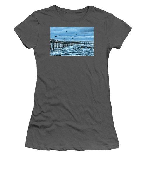 Ocean Beach Fishing Pier Women's T-Shirt (Junior Cut) by Daniel Hebard