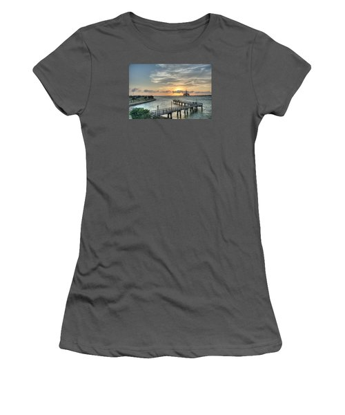 Oil Rig In Gulf Women's T-Shirt (Athletic Fit)