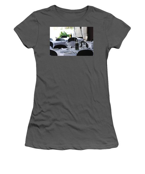 Women's T-Shirt (Junior Cut) featuring the photograph Oils And Glass At Dinner by Rob Hans