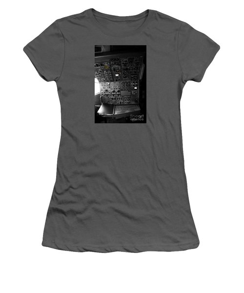 Old Boeing 727 Cockpit Women's T-Shirt (Junior Cut) by Micah May