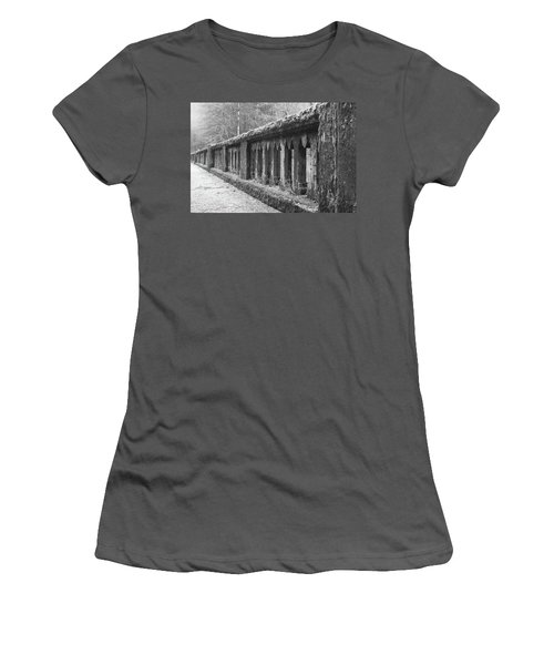 Old Bridge In Black And White Women's T-Shirt (Junior Cut) by Angi Parks