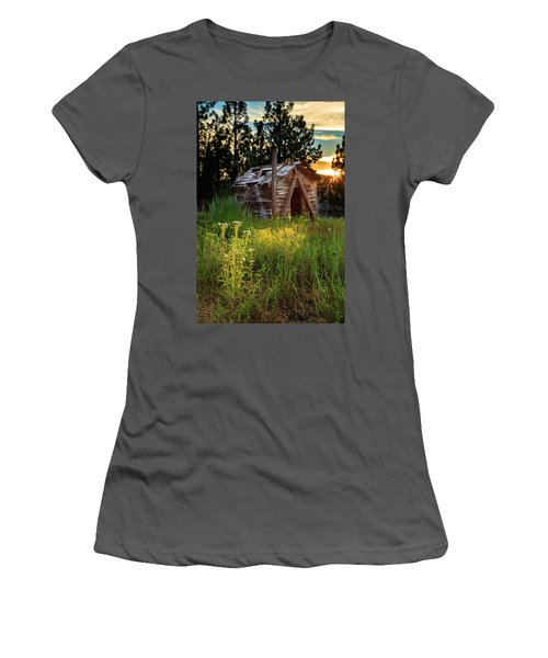 Old Cabin At Sunset Women's T-Shirt (Athletic Fit)