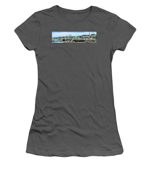 Women's T-Shirt (Junior Cut) featuring the digital art Old Camden Harbor View by Daniel Hebard