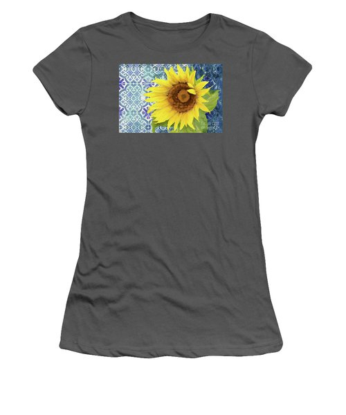 Women's T-Shirt (Athletic Fit) featuring the painting Old Havana Sunflower - Cobalt Blue Tile Painted Over Wood by Audrey Jeanne Roberts