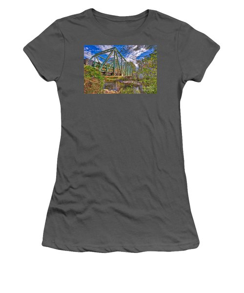 Women's T-Shirt (Athletic Fit) featuring the photograph Old Metal Truss Bridge Newport New Hampshire by Edward Fielding