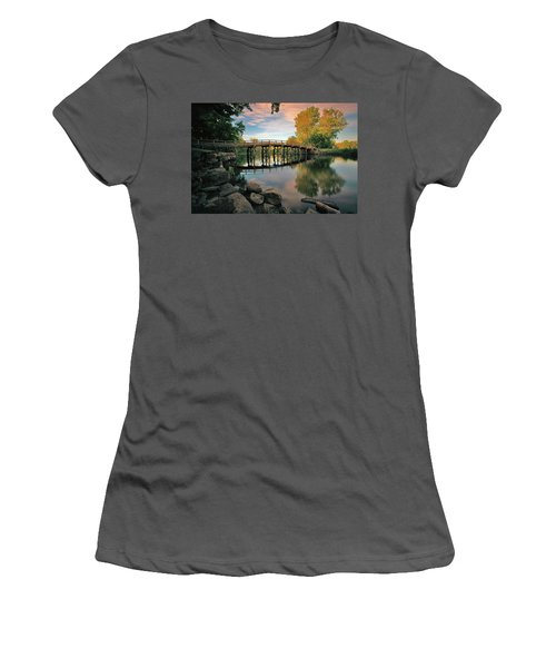 Old North Bridge Women's T-Shirt (Junior Cut) by Rick Berk