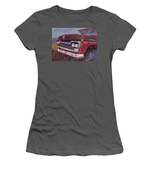 Women's T-Shirt (Junior Cut) featuring the painting Old Red by Arlene Crafton