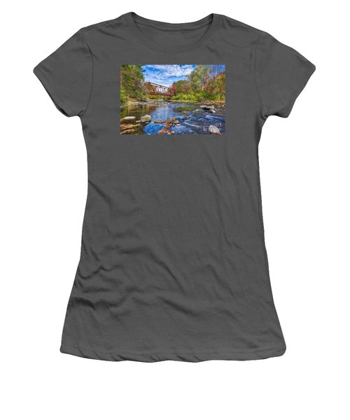 Women's T-Shirt (Athletic Fit) featuring the photograph Old Steel Truss Train Bridge Newport New Hampshire by Edward Fielding