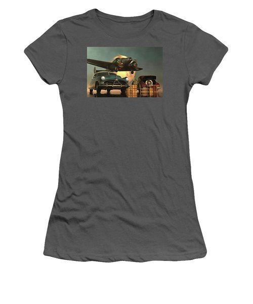 Old-timers With Airplane Women's T-Shirt (Athletic Fit)