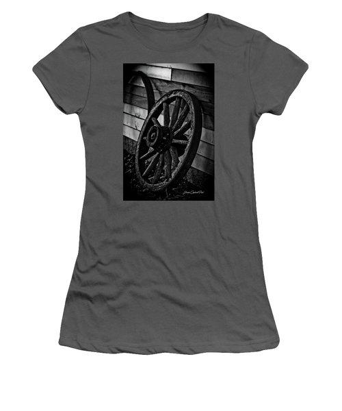 Old Wagon Wheel Women's T-Shirt (Junior Cut) by Joann Copeland-Paul