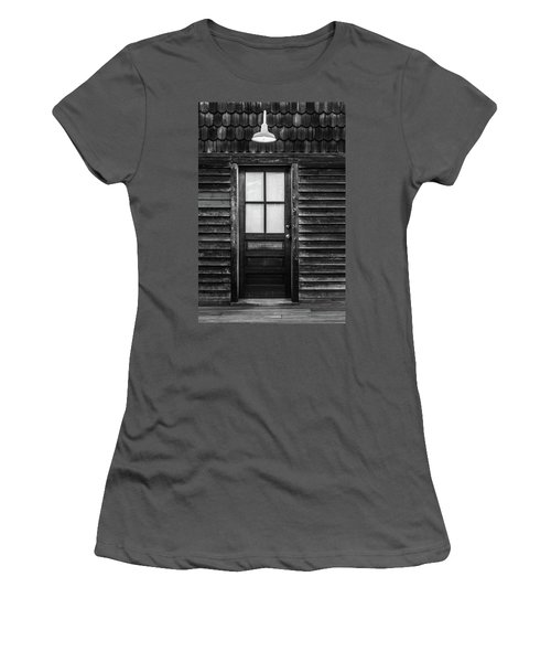 Old Wood Door And Light Black And White Women's T-Shirt (Junior Cut) by Terry DeLuco