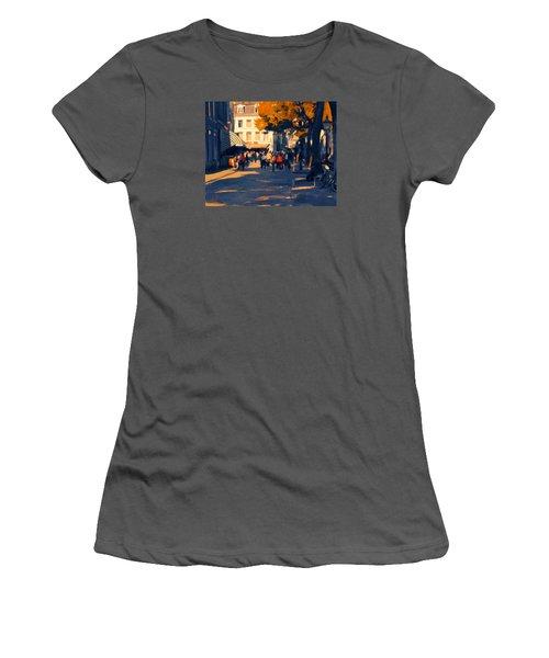 Women's T-Shirt (Junior Cut) featuring the painting Olv Plein Maastricht In Autumn by Nop Briex