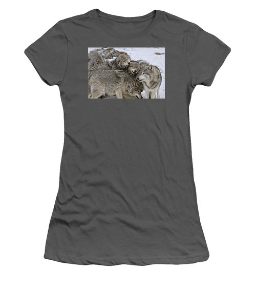 Women's T-Shirt (Junior Cut) featuring the photograph One Big Happy Family by Michael Cummings