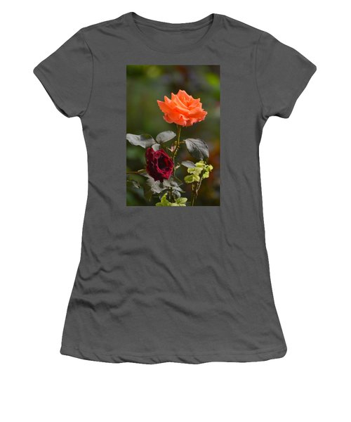 Orange And Black Rose Women's T-Shirt (Athletic Fit)