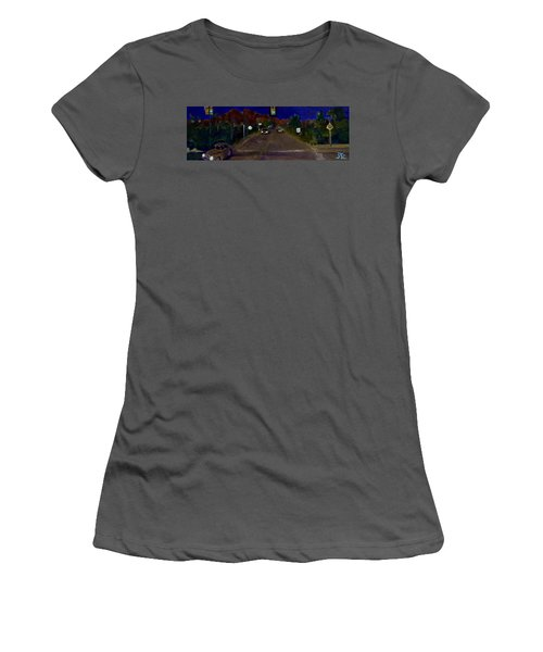 Women's T-Shirt (Junior Cut) featuring the painting Orange Grove And La Canada by Julie Todd-Cundiff
