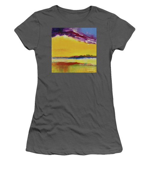 Women's T-Shirt (Athletic Fit) featuring the painting Orchid Sky by Robin Maria Pedrero